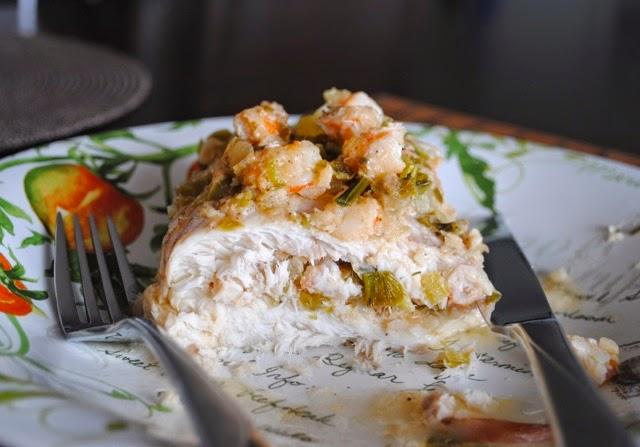 Филе цыпленка, фаршированное кремом маскарпоне и креветками