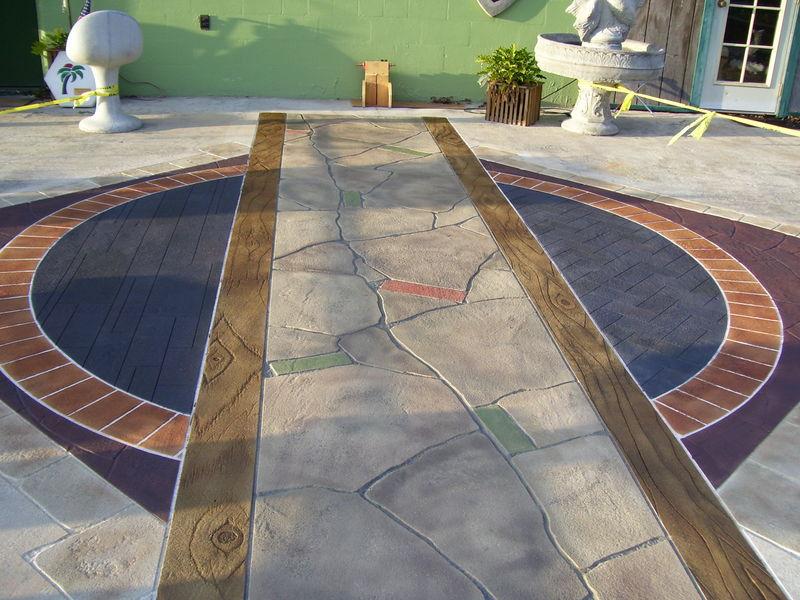 Декоративный бетон для отделки художественными штампами